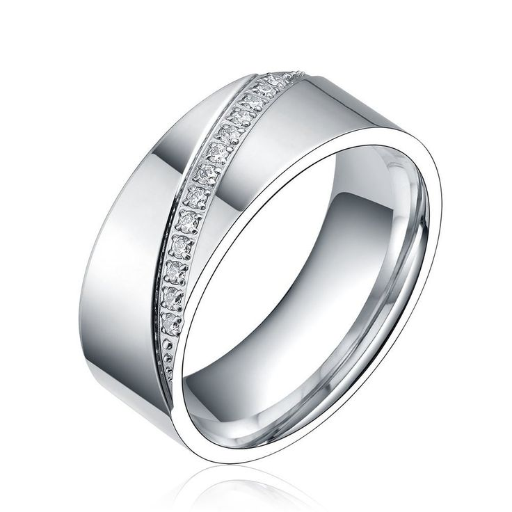 Silver Cubic Zirconia Inlay Eternity Ring Titanium Wedding Band Women Bridal Jewelry Engagement Rings For Bague Femme