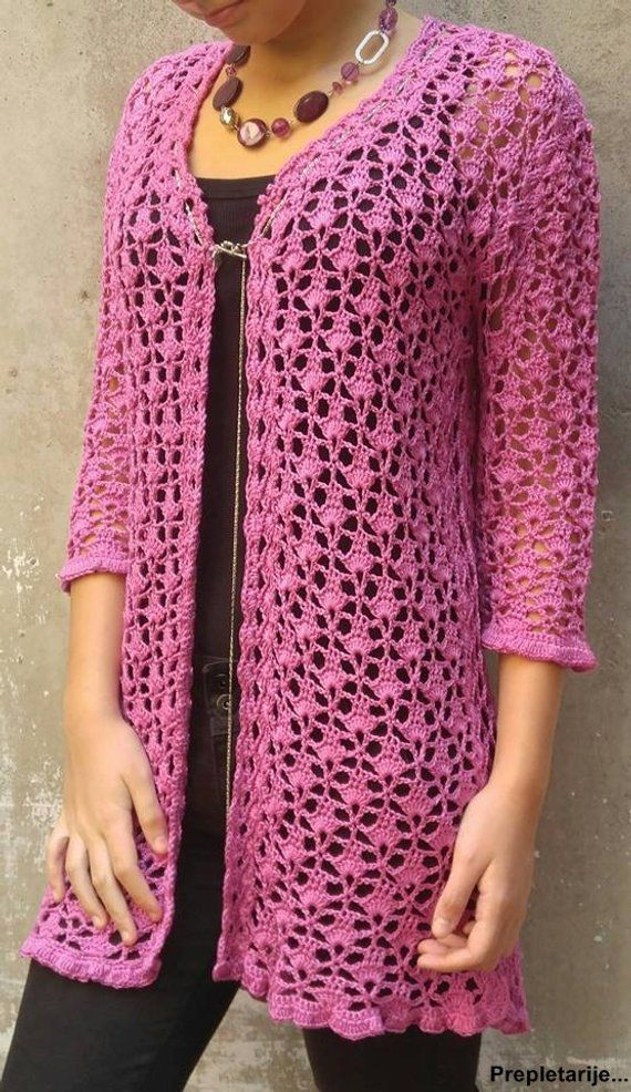 Crochet long lace cardigan in old pink color / shortened 3/4