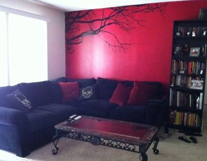 pigtailsandcombatboots: Goth decor idea (want) I would love to do a stencil like that on the wall.