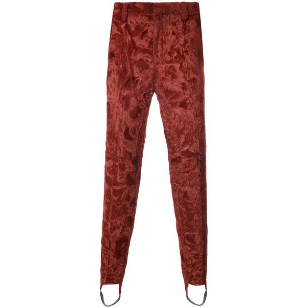 Y / Project synthetic fur stirrup trousers ($860) ❤ liked on Polyvore featuring men's fashion, men's clothing, men's pants, men's casual pants, red, mens faux leather pants, mens red pants, mens red faux leather pants and mens fake leather pants