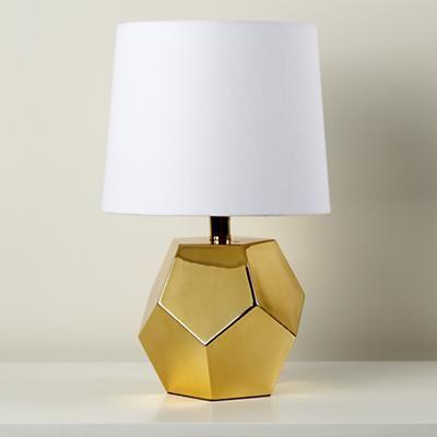Kids Lighting: Gold Geometric Lamp Base in Table Lamps