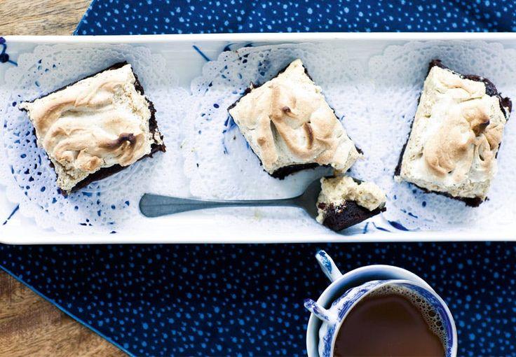 Brownie med lakridsmarengs