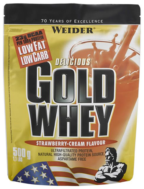 Weider Gold Whey 500 G (1.1 LB) - Muscle Petrol Weider Gold Whey is a low fat and low carb drink mix powder rich in high-quality whey protein. It also contains a high concentration of BCAAs (23 g in every 100 g protein).