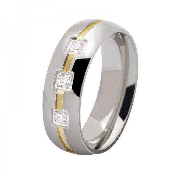 Jeulia Fashion Round Cut Created White Sapphire Titanium Steel Mens Wedding Ring