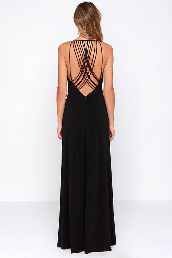 Strike a Chord Black Maxi Dress