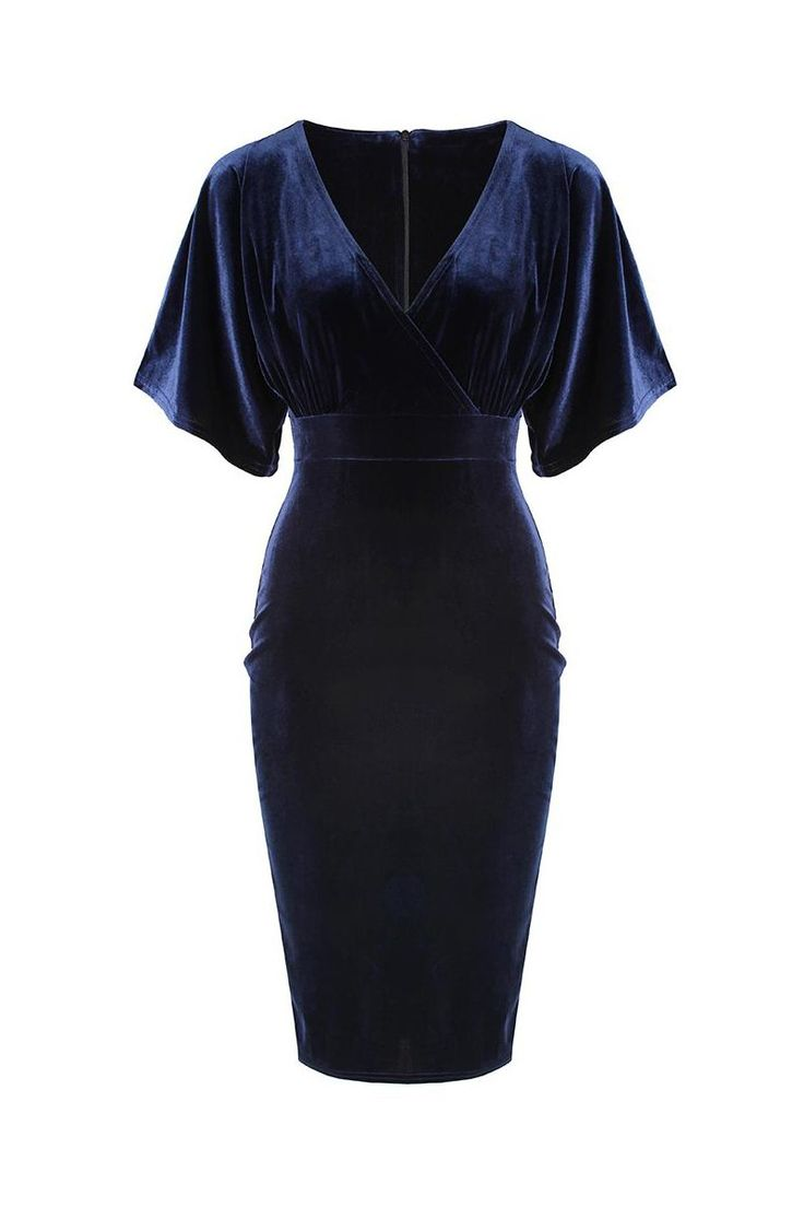 Navy Blue Velour 40s 1/2 Sleeve Wrap Wiggle Dress