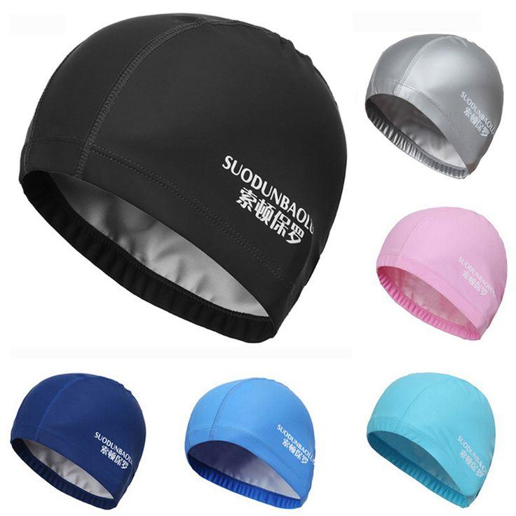 >>>Order2016 New Elastic Waterproof PU Fabric Protect Ears Long Hair Sports Swim Pool Hat Swimming Cap Free size for Men