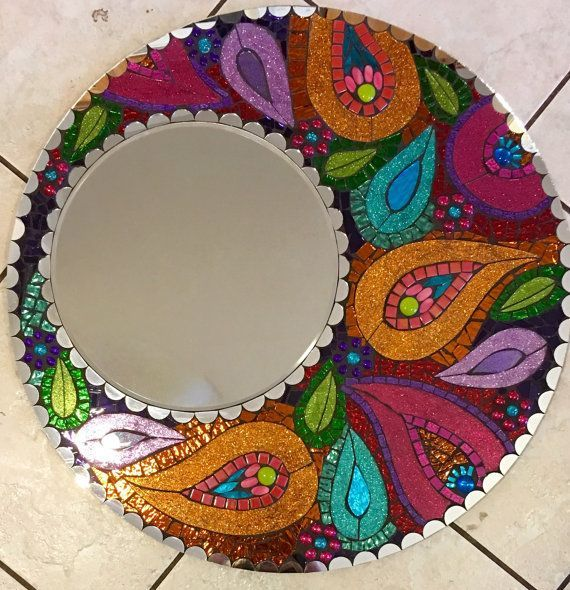 """Custom Made Paisley 24"""" Stained Glass Mosaic Mirror"""