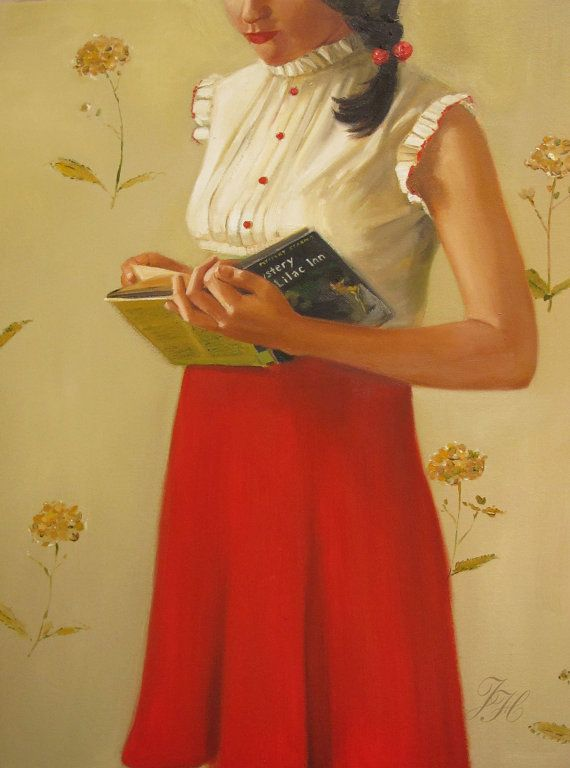 Love this one by Janet Hill Studios; cute outfit, her braid, and reading Nancy Drew!
