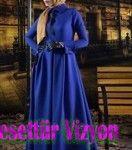 2015 Tesettür Modasında-Sonbahar Kış Renkleri mavi abiye