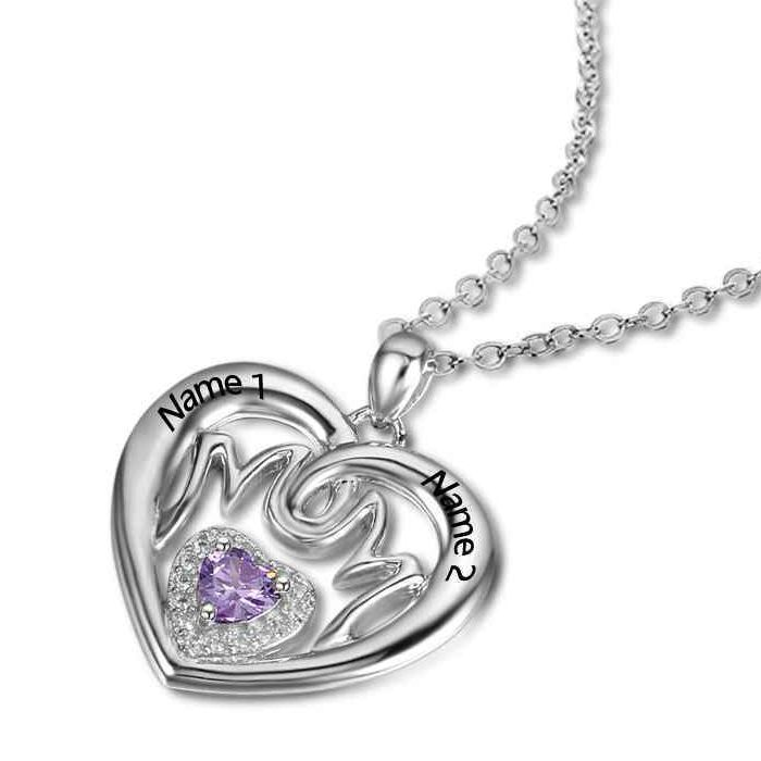 Post Included Aus Wide and to most international countries! >>>  Mum/Mom Heart Dazzler Birthstone Necklace - 925 Sterling Silver