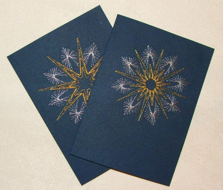 Weihnachtskarten mit Fadengrafik