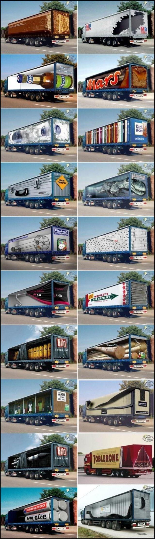 Vrachtwagens zijn de hele dag onderweg en komen dus veel mensen tegen. Waarom niet origineel adverteren dan? Goed voorbeeld van advertising.