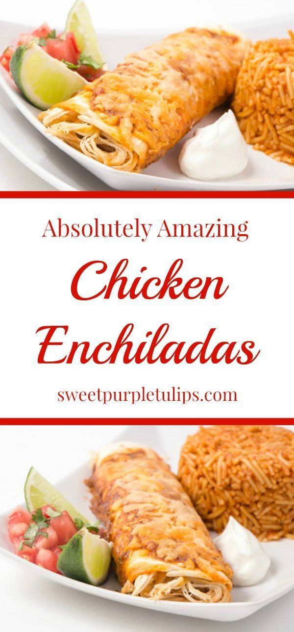 These chicken enchiladas are absolutely amazing! The homemade enchilada sauce is easy to make and incredibly delicious. Once you try it, you will never want to buy canned sauce again! #chicken #chickenenchiladas #chickendinner