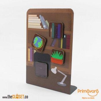 Portanotas con imán biblioteca, porta notas para oficina, escritorio, biblioteca vintage, ilustración biblioteca, www.thecloset.co