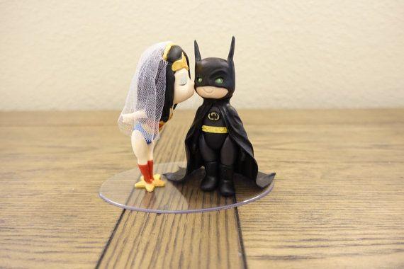 Wonder Woman and Batman Cake Topper. Wedding Cake by PlayCraft