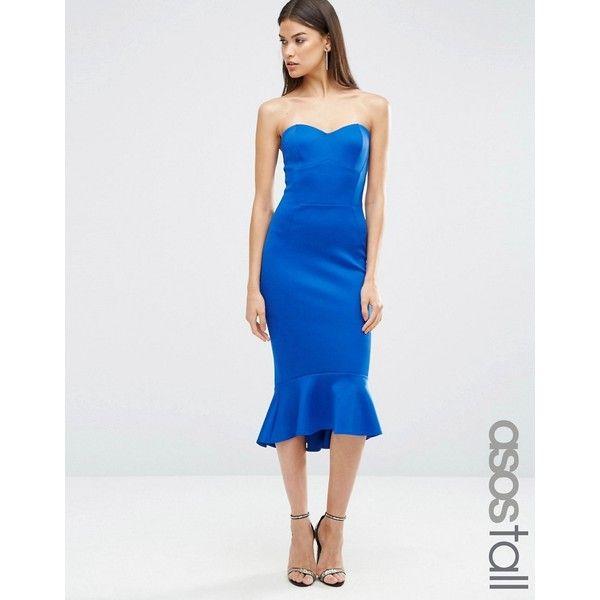 ASOS TALL Pephem Bandeau Midi Dress ($40) ❤ liked on Polyvore featuring dresses, blue, strapless peplum dress, peplum midi dress, blue midi dress, blue bodycon dress and sweetheart dress