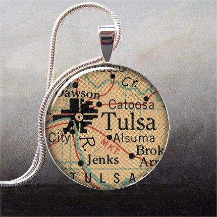 1950's map pendant of Tulsa.  Love. I want to do this with one of my Paris maps