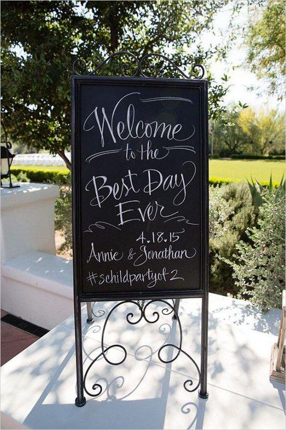 chalkboard wedding welcome sign / http://www.deerpearlflowers.com/30-rustic-wedding-signs-ideas-for-weddings/