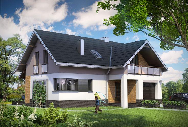 Projekt domu Wodnik Mały idealny dom dla 5 osobowej rodziny, z zadaszonym balkonem nad wejściem