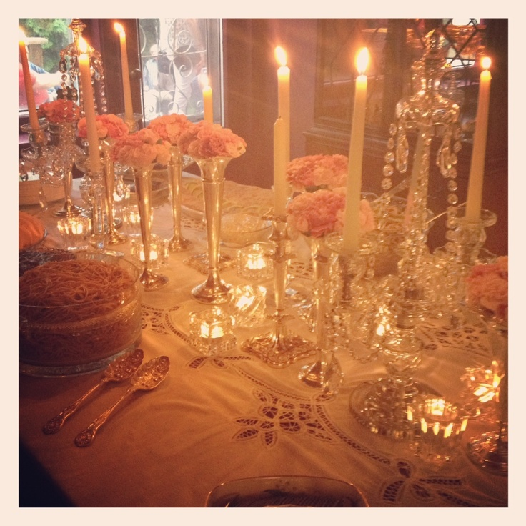 #silver and #crystal #engagement #buffet #table