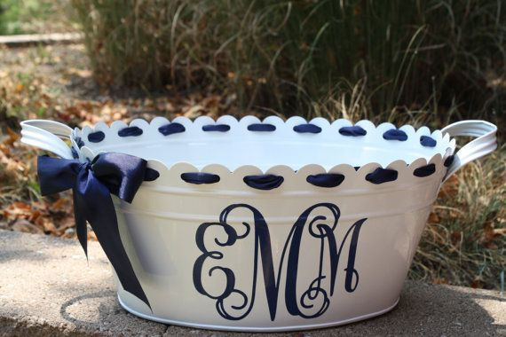 Personalized Scalloped Oval Metal Tub Ice Bucket 31 00