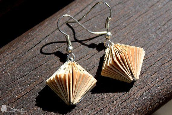 Paper Book Earrings. Diamond Design. Beige & Black. by ThePaperer, $35.00