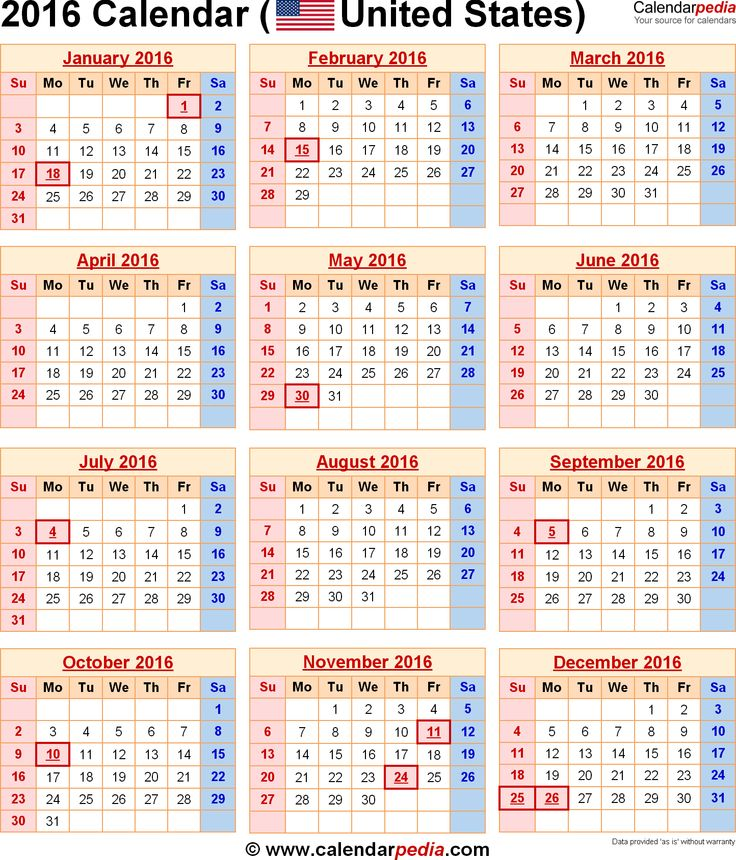 2016 Calendar With Holidays Printable