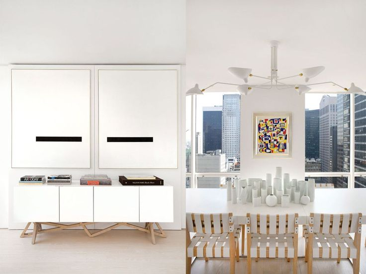 Left: Over Christophe Delcourt's Saga sideboard from Roche Bobois hangs a twin set of John McLaughlin's minimalist black-and-white paintings from 1973. Right: In the dining area, a mass of Rosenthal Studio Line vessels forms an eye-catching centerpiece. The chairs are custom from Christophe Pourny Studio. Above it all hangs Serge Mouille's classic ceiling fixture from Gueridon. Animating the wall between the windows is an abstract work by Charmion von Wiegand from 1948.