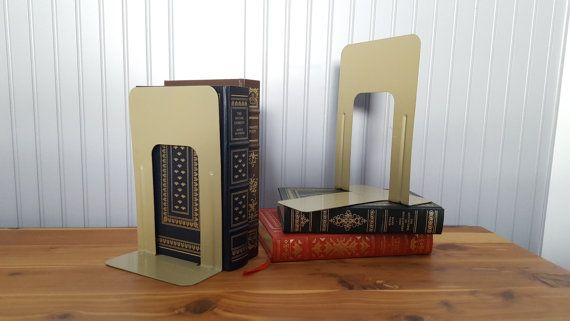 Pair of Industrial Book Ends, Metal, Olive Colored, 9 Inches Tall, Library Book Holders, Office Organization