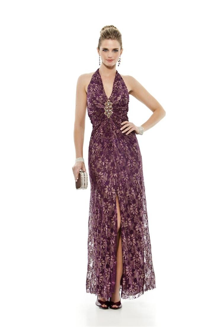 Vestido longo frente única em renda com flores douradas. Ampla saia plissada com forro duplo. Cod. 101421