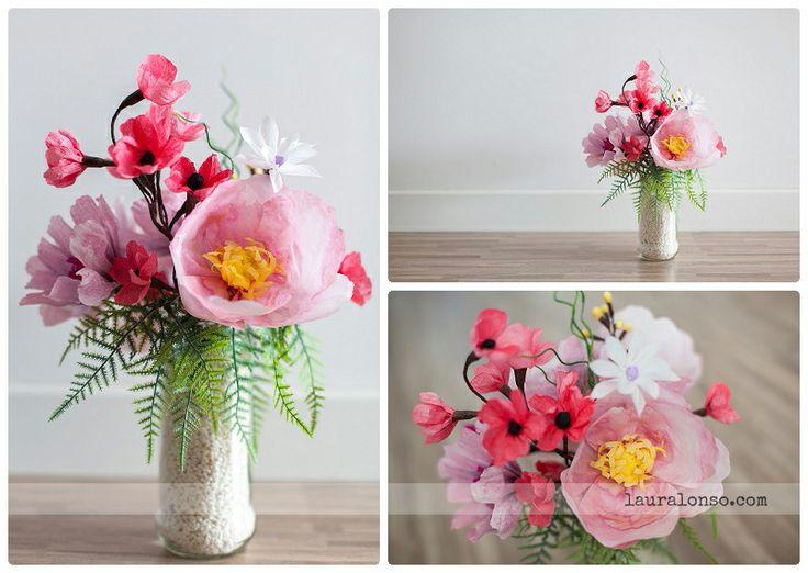 peonias, flores de papel, decoración, paper flowers, spring, wedding bouquet, ramo novia
