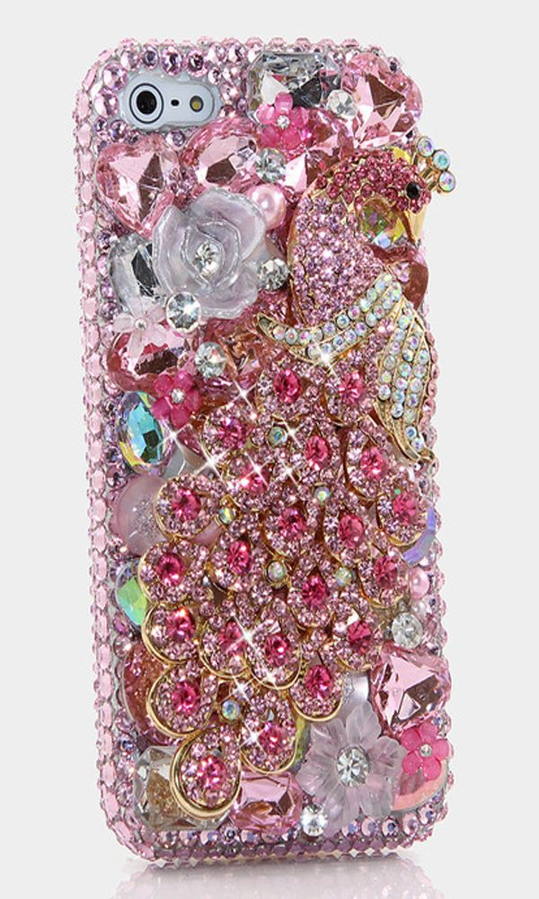 Pink Peacock Design iPhone 4/ 4s bling case.  Luxury phone cases iPhone Accessories http://luxaddiction.com