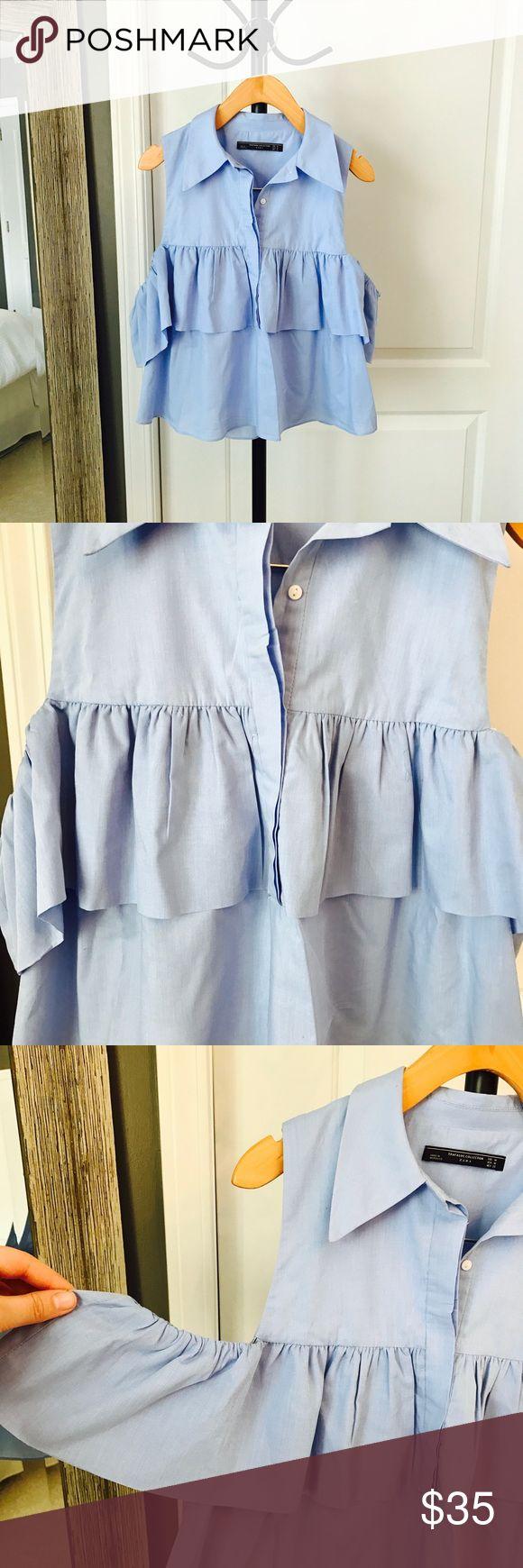Zara Ruffled Blouse Brand new & never worn. 55% cotton & 45% polyester. Zara Tops Button Down Shirts