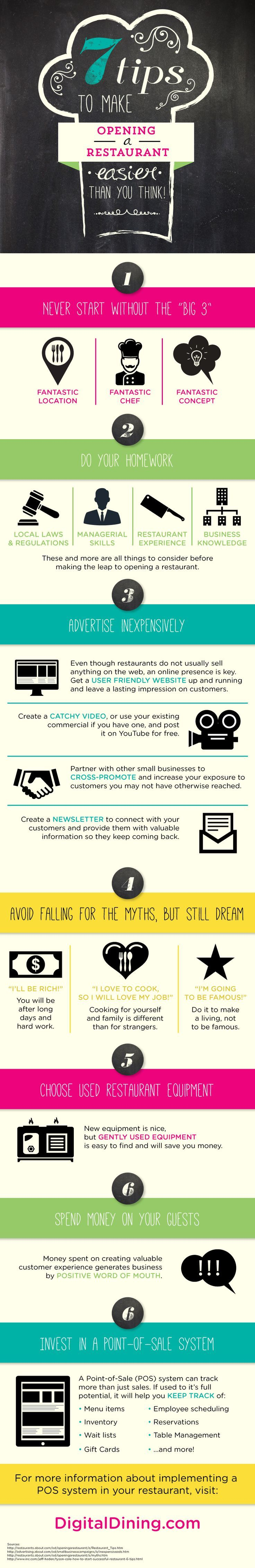 7 Tips to Make Opening a Restaurant Easier #infographic #Restaurant #Opening #Hotel