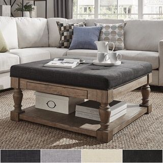 Lennon Baluster Pine Storage Tufted Cocktail Ottoman by TRIBECCA HOME
