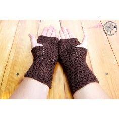100% Wool Chocolate Brown Fingerless Gloves