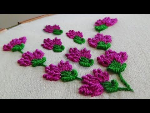 Hand Embroidery Designs   Hand stitches tutorial   Stitch and Flower-87 - YouTube