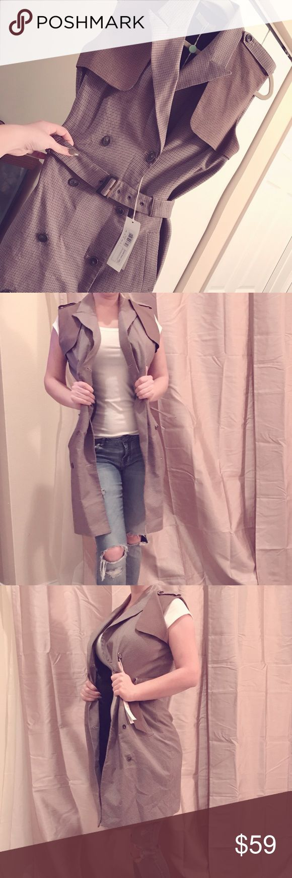 STEFANEL New With Tags! Sleeveless Jacket/Blazer High Quality Blazer/Jacket! Many brown, olive green and tan colors through out! Matching belt tops it off! Beautiful piece for anyone collection! Stefanel Jackets & Coats Trench Coats