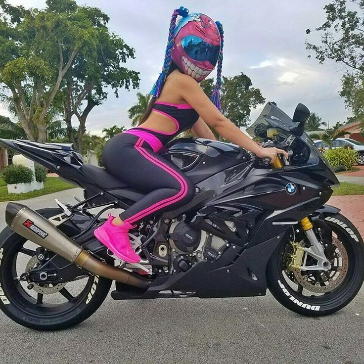 Biker girl on BMW S1000RR
