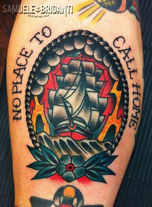 tattoo old school / traditional nautic ink - caravel (by Samuele Briganti)