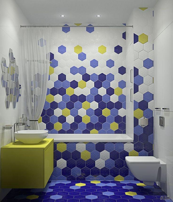 Яркая ванная комната с шестигранной плиткой. Современный стиль  (Bright bathroom with hexagon tiles, contemporary style) | Студия LESH