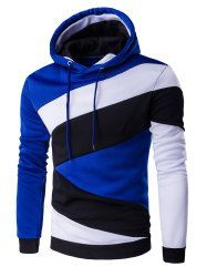 Colors Spliced Long Sleeve Hoodie (SAPPHIRE BLUE,L) | Sammydress.com Mobile