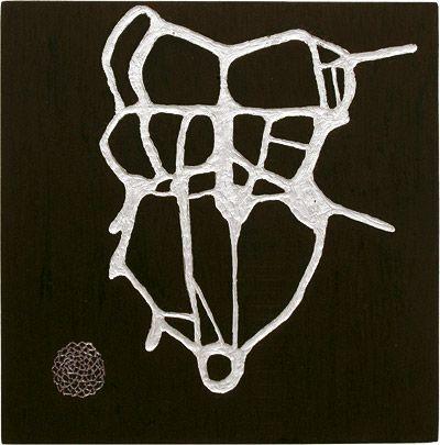 Skeleton (2006)Oil on wood, 70 x 70 cmby Marika Mäkelä