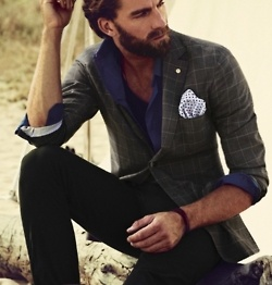 Who needs sleeves: Beards, Men Clothing, Jackets, Men Fashion, Pockets Squares, Blazers, Handsome Man, Dark Colors, Patterns Mixed