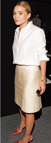 Shimmery skirt and simple white button-down