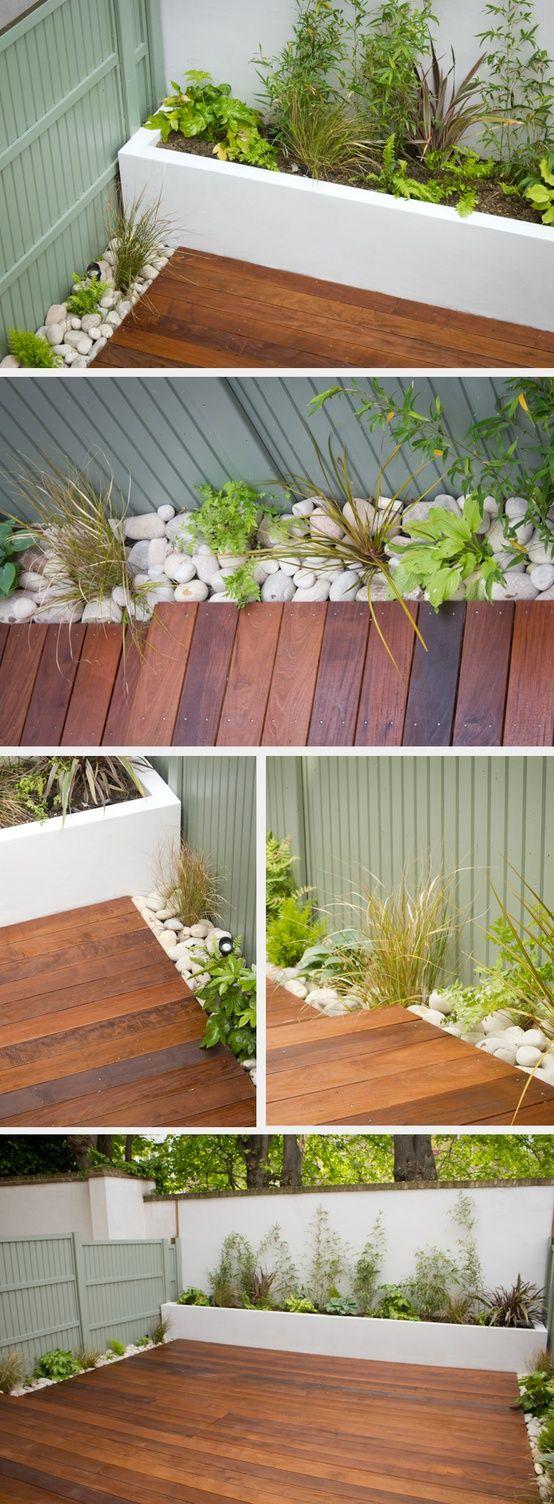 Garden/patio design - good idea, instead of using a patio tile, use wood.