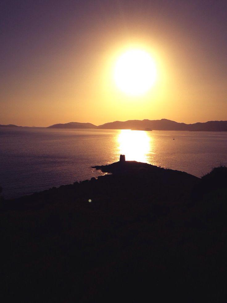Romantic sunset south Sardinia