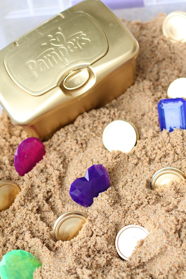 DIY treasure chest sensory bin activity for toddlers