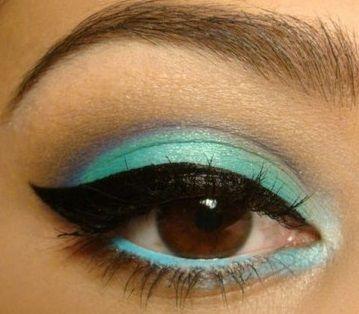 Turquoise and purple eye makeup